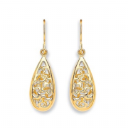 9Ct Gold teardrop filigree drop Earrings